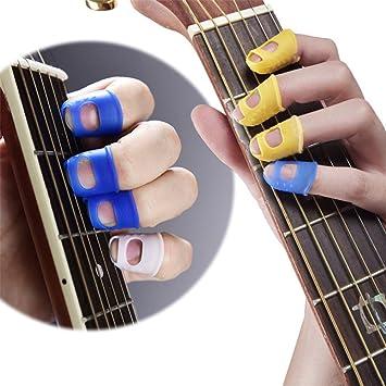 Malayas® 4 Unidades Protector de Dedos para Guitarra Eléctrica Acustica Clásica Bajo Ukulele Protectores Profesionales de Silicona para Instrumentos ...