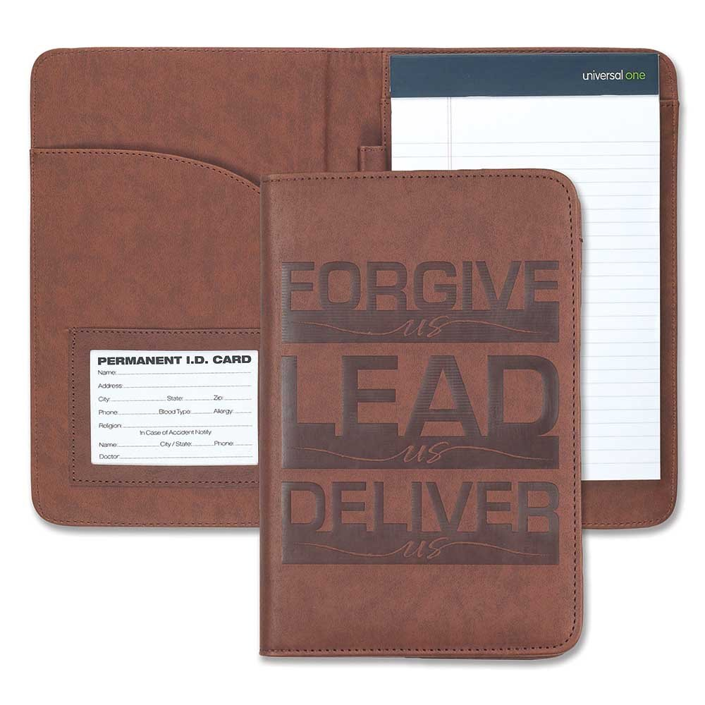 Forgive Lead Deliver Us Brown 6 x 9 Inch Vinyl Leatherette Portfolio with Notepad