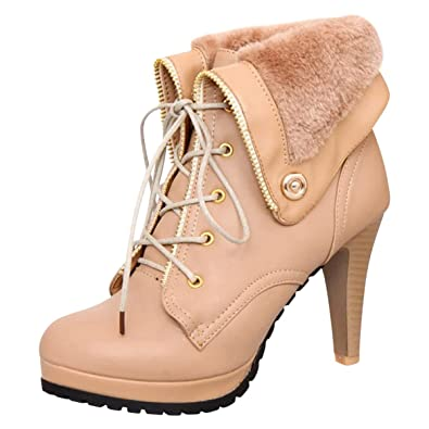 daa8472362d Amazon.com | High Heel Ankle Boots for Women Winter Shoes Lace Up ...