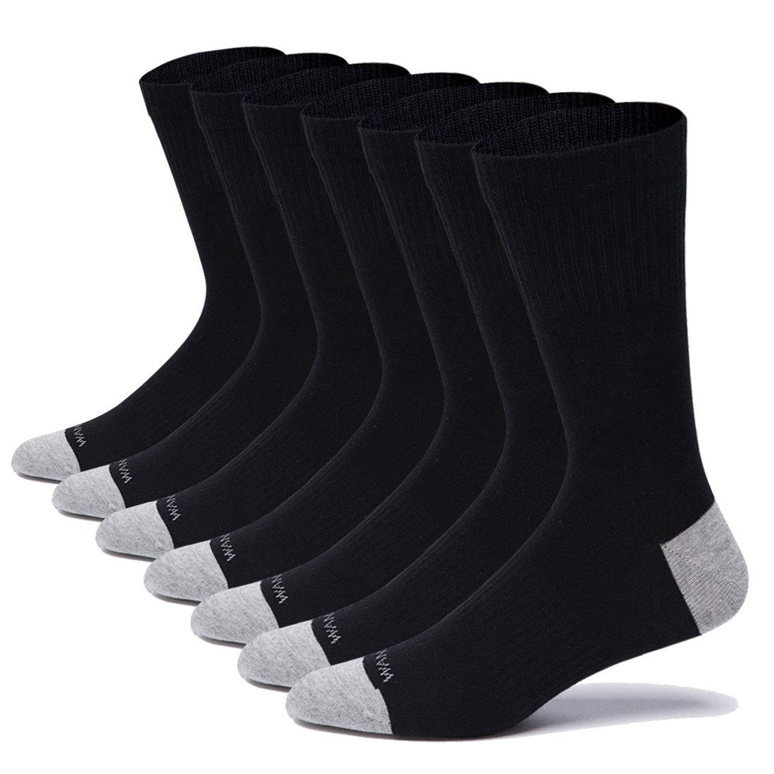 WANDER Cotton Dress Socks 7-12 Pairs Thin Crew Socks Mens Women Casual Work Socks for Shoes