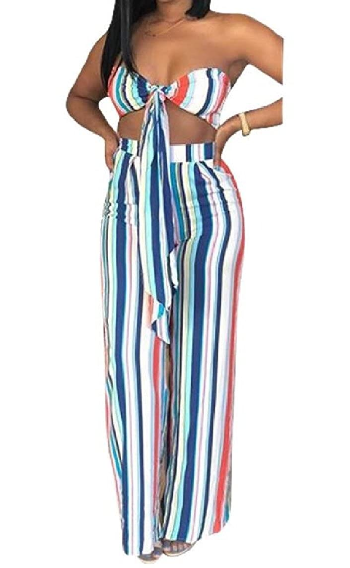 Nicelly Womens Wrap Wide Legs 2 Pieces Colorful Ribbon Nightclub Playsuit