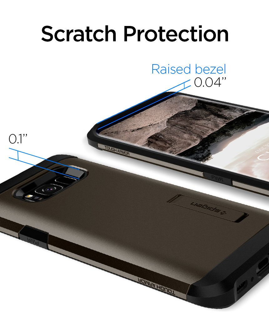 Spigen Tough Armor Galaxy S8 Case with Reinforced Kickstand and Heavy Duty Protection and Air Cushion Technology for Samsung Galaxy S8 (2017) - Gunmetal by Spigen (Image #8)
