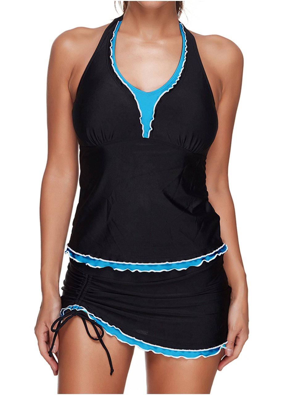 Ayliss Women\'s 2 Piece Halter Tankini Swimsuits with Panty Skirt Tummy Control Black US 4-6