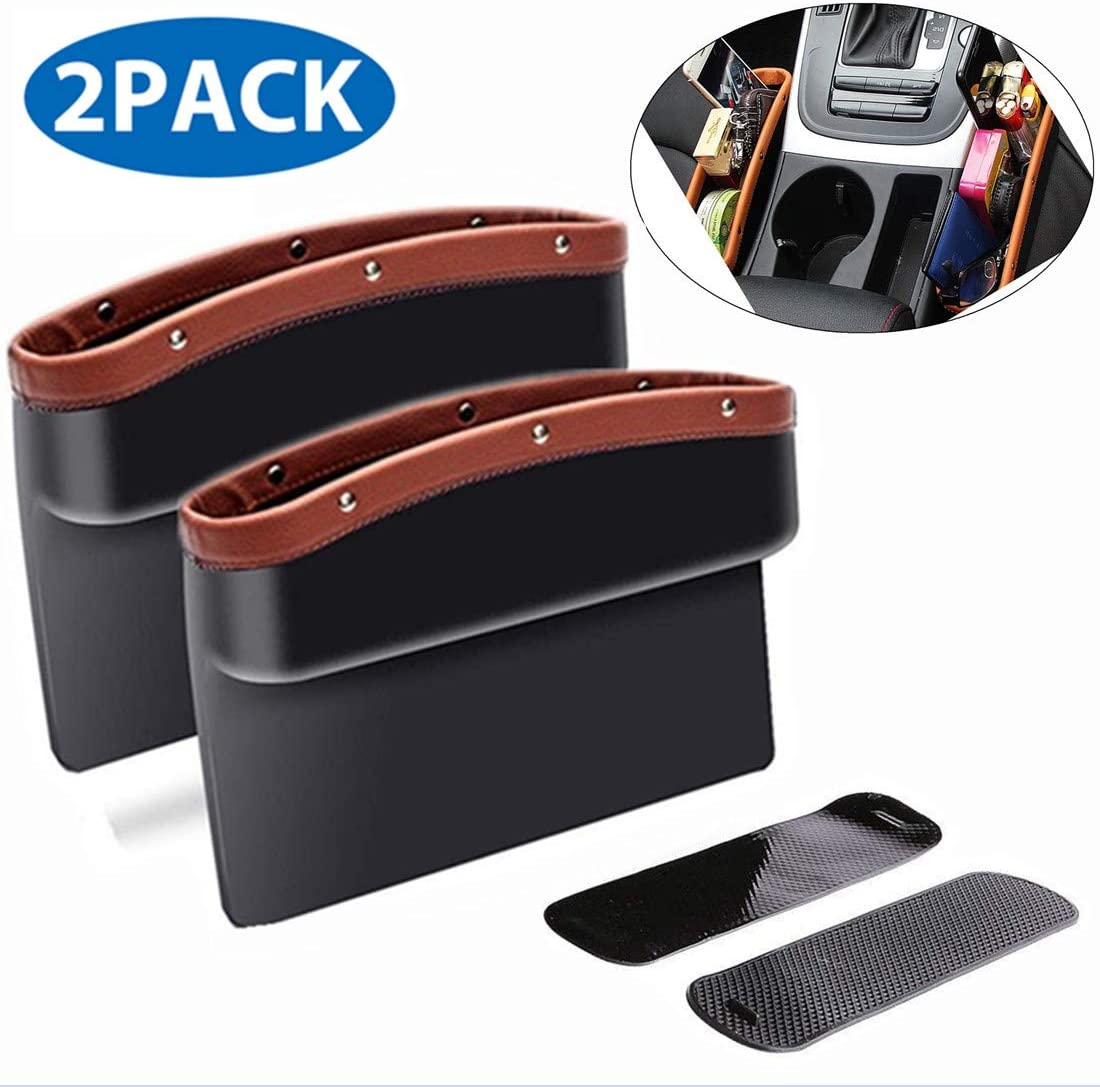 ifory 2 Pack Car Seat Gap Filler and Organizer, Universal Car Gap Pocket for Drop Caddy, Crevice Storage Box for Cellphone/Wallet/Key/Card with Non-Slip Mat (Brown) (2 Pack, Brown)