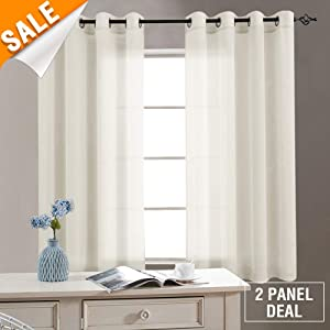 Bedroom Window Sheer Curtains Nature 63 inch Grommet Top Voile Living Room Curtain Set 2 Panels Drapes