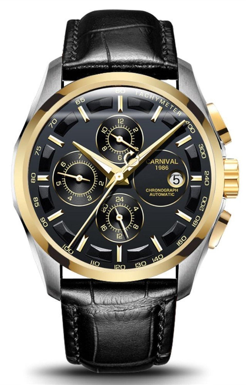 Men 's自動self-windアナログ腕時計Large Dialステンレススチール防水日付本革バンド ゴールドブラック B07DGLZ7M1ゴールドブラック