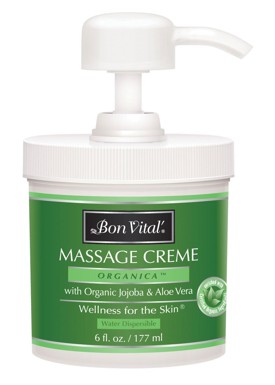 Bon Vital' Organica Massage Crème, Professional Massage Therapy Cream with Certified Organic Ingredients for an Earth-Friendly & Relaxing Massage, Organic Jojoba Oil for Easy Glide, 6 oz. Jar Pump