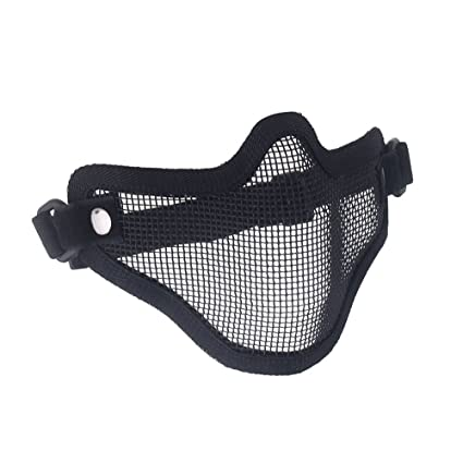 SODIAL(R)Tactica Caza Alambre de Metal La Mitad Cara CS Mascara Airsoft del