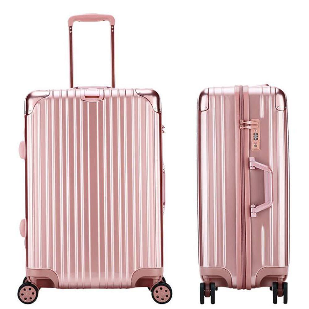 スーツケーストロリー手持ちのキャビン荷物ハードシェルトラベルバッグ軽量4スピナーホイール 54*30*77cm B07T7HDQFP Rose gold