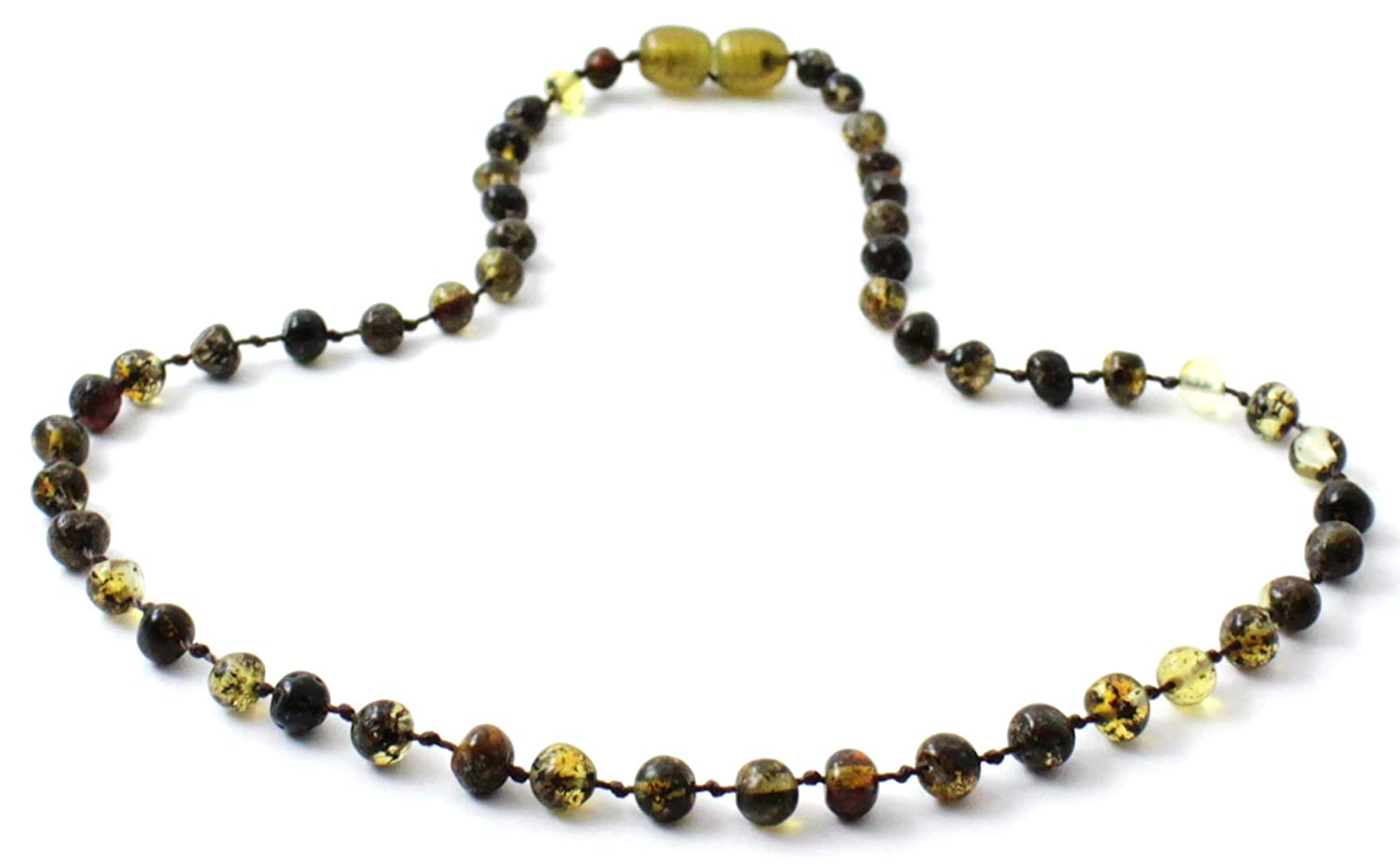 TipTop-Eco Baltic Amber Teething Anklet or Bracelet for Baby or Toddler Polished Green Beads 5.5 Inches Long TipTop/_Eco Green, 5.5 Inches
