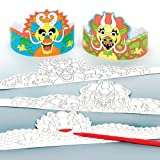 Baker Ross Chinese Dragon Colour-in Crowns For Kids Perfect For Children's Arts, Crafts And Decorating For Boys And Girls (Pack of 6)