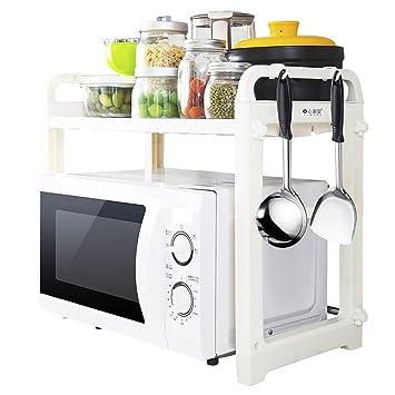 Chen Cocina Hornos de Microondas Estantería Doble Capa Admisión Estantería Multifunción Horno Cookware Landing Storage Rack