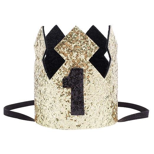 MuYiTai Baby Boy First Birthday Crown Hat Gold Glitter Black
