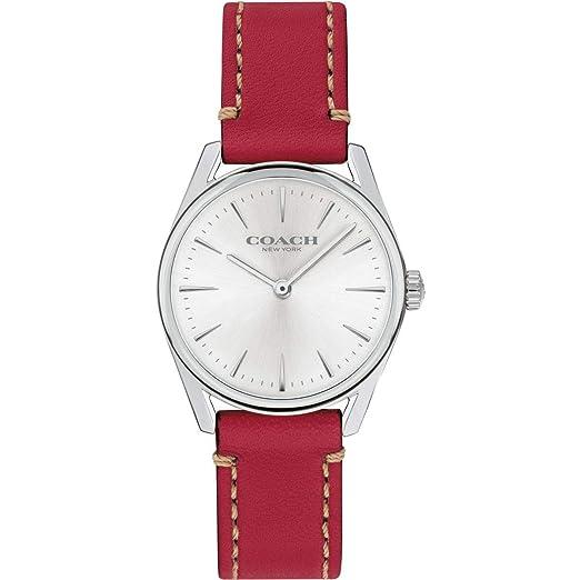 Coach Reloj de Pulsera de Cuero Rojo de Lujo Moderno para Mujer 14503205: Amazon.es: Relojes