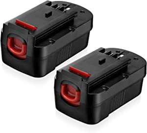 2 Pack 18 Volt HPB18 Replacement Battery Compatible with Black and Decker 18V HPB18 HPB18-OPE 244760-00 A1718 FS18FL FSB18 Firestorm Black and Decker 18 Volt Battery