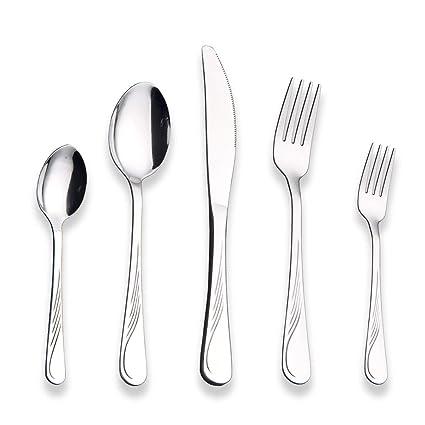 Berglander Set de cubiertos de acero inoxidable 30 piezas, juego de platos y cubiertos, juego de cubiertos, servicio para 6