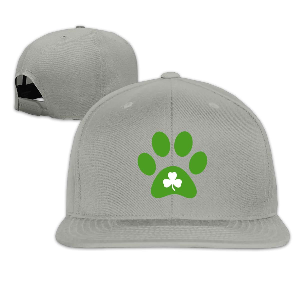 MOCSTONE Unisex Snapback Hat Paw Print Clover Adjustable Baseball Cap