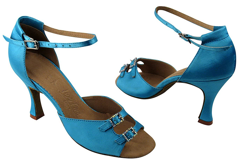 Blue 8 Very Fine Womens Salsa Ballroom Tango Dance Shoes Style SERA1620 Bundle with Plastic Dance Shoe Heel Protectors Heel 2.5 Inch