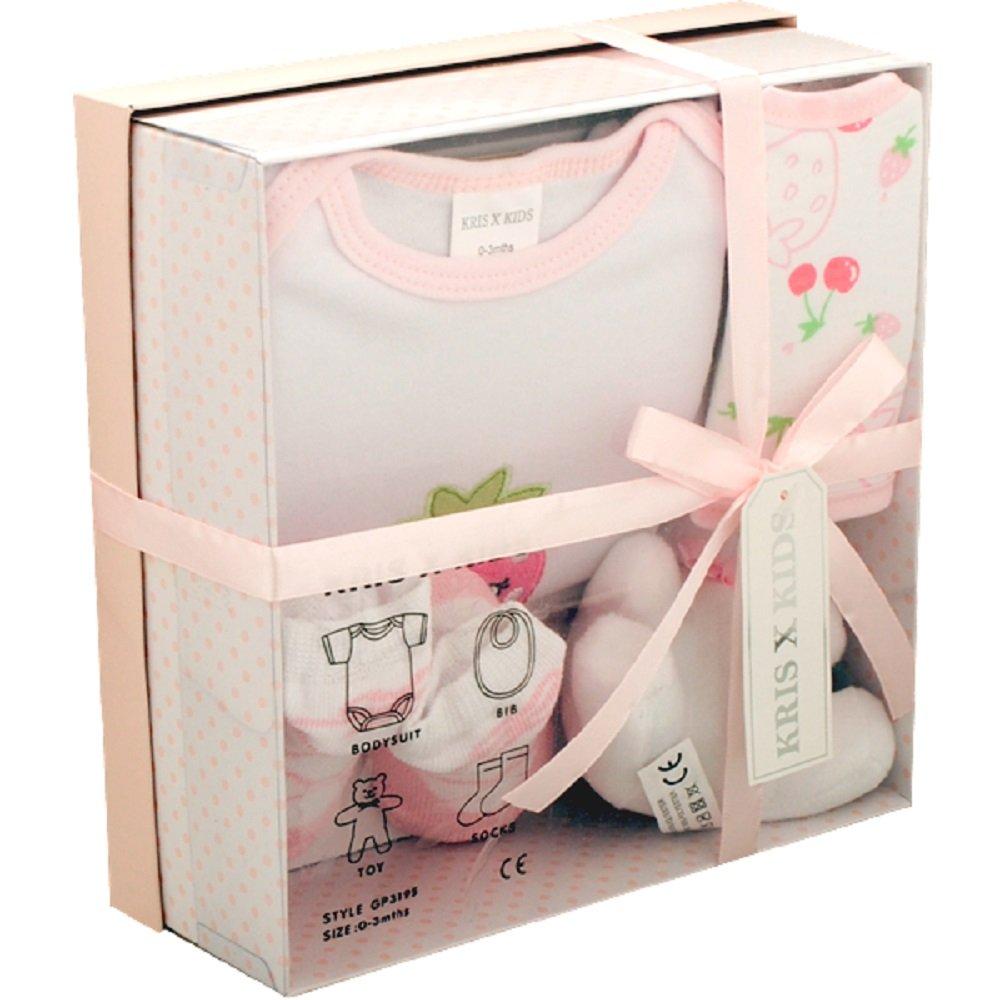 Baby-Geschenkset 4-teilig,erh/ältlich in blau zitronengelb oder wei/ß. 3/Monate pink in Geschenkbox