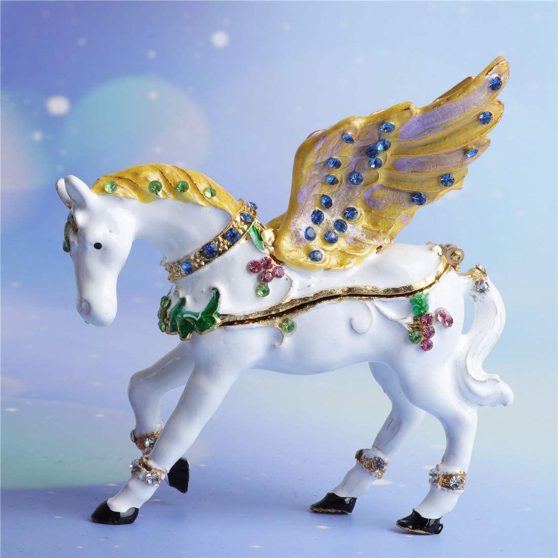 Waltz/&F Hinged Trinket Box Bejeweled Hand-painted Animal Figurine Collectible Flying Horse