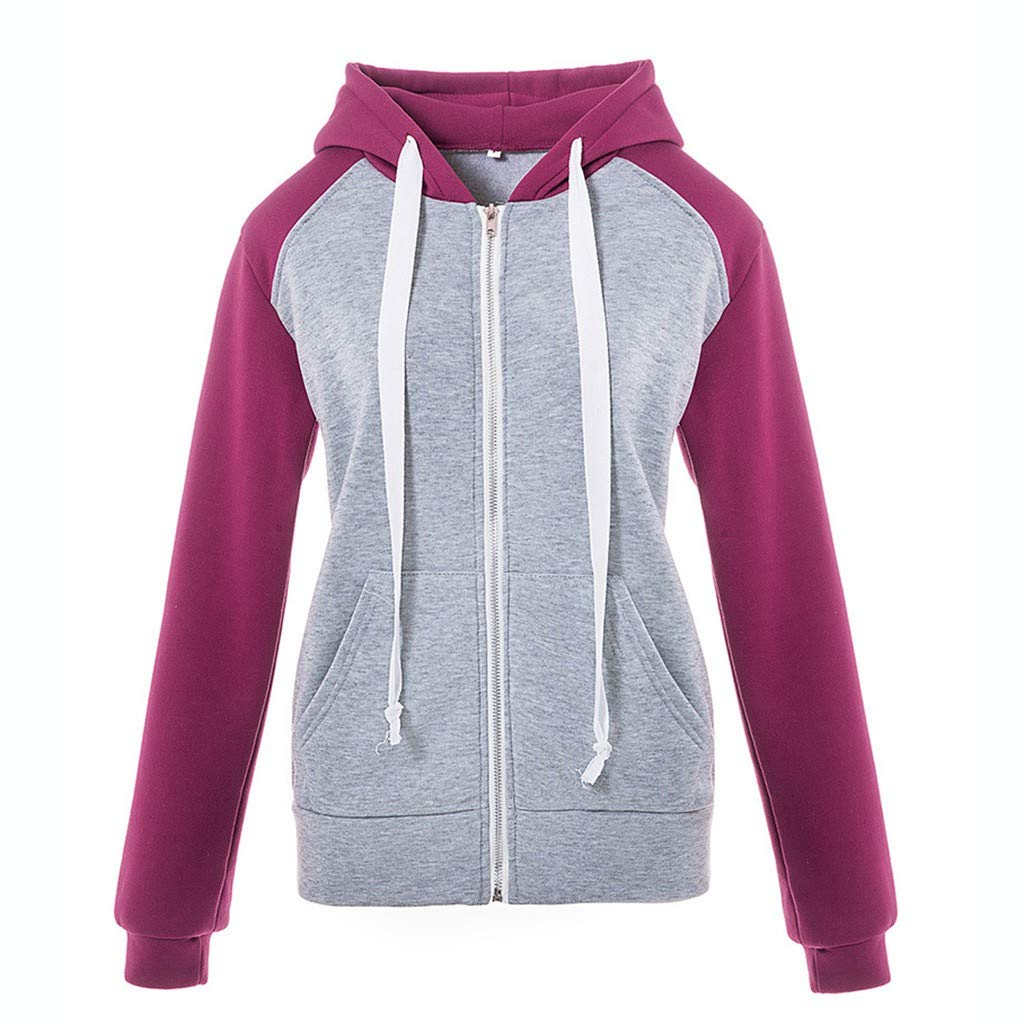 Hoodies for Women Zip Up with Pockets Patchwork Active Yoga Casual Supersoft Thin Sportswear Hooded Jackets Purple by Letdown_Women Hoodies