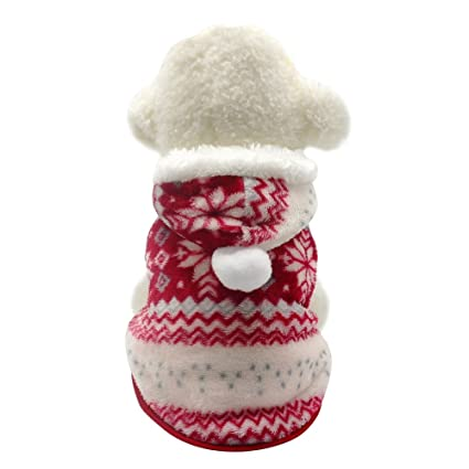 Beirui Christmas Cute Fleece Dog Jacket Small Dogs Yorkie Winter Coat Soft Flannel Pajamas Padded Vest Warm Pet Puppy Jumpsuit