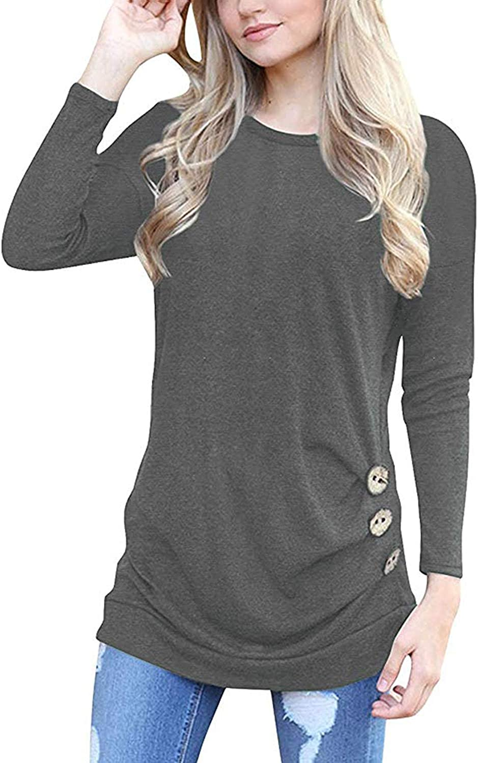MOLERANI Womens Casual Long Sleeve Round Neck Loose Tunic T Shirt Blouse Tops