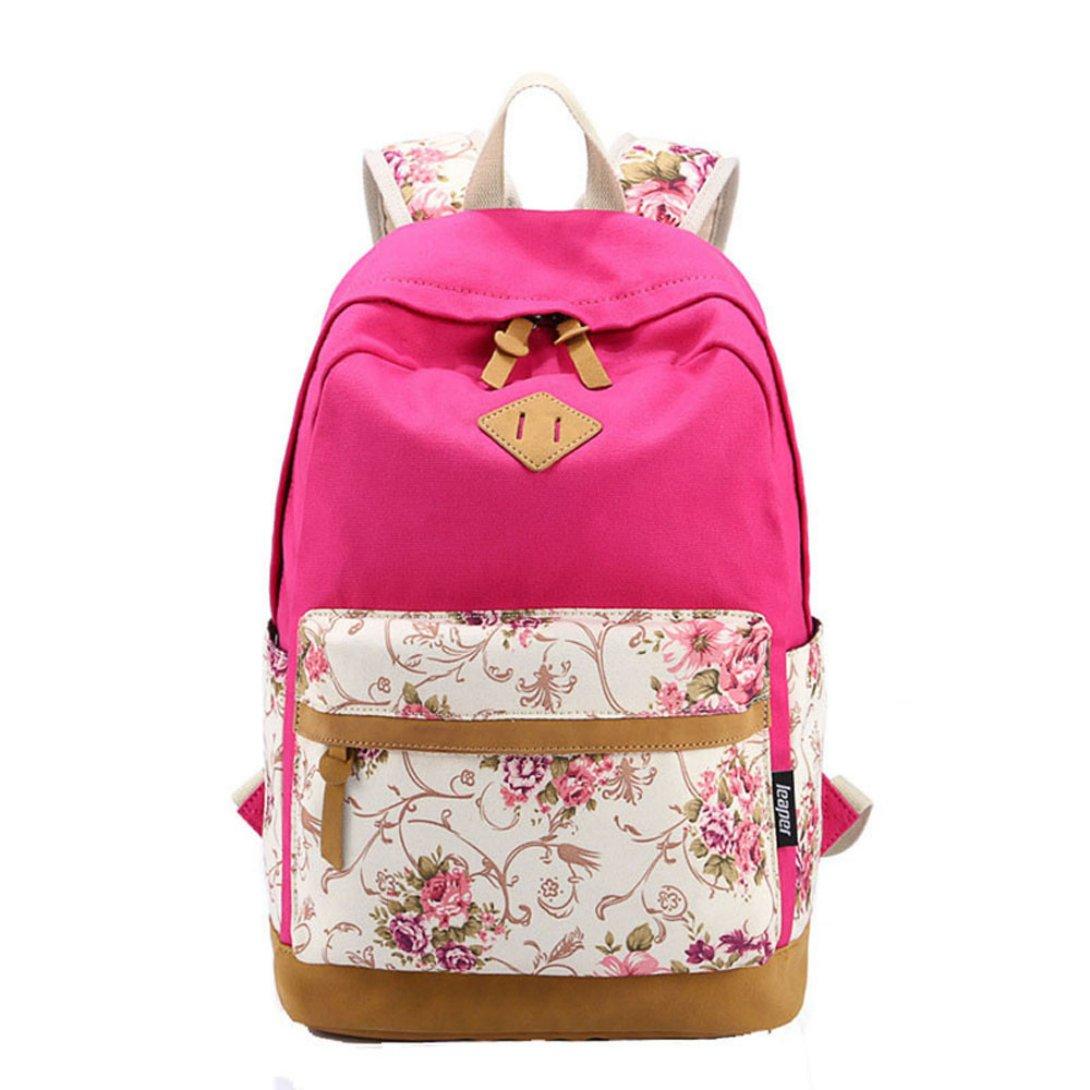 WensLTD Hotsale 。Sweetパターンキャンバスバックパックリュックサック学校ブックバッグ One Size B0154JVULE ホットピンク