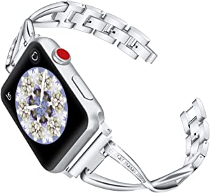 OULUCCI Stainless Steel Band Compatible Apple Watch Band 38mm 40mm Women Iwatch Series 5, Series 4, Series 3, Series 2 1 Accessories Metal Wristband X-Link Sport Strap