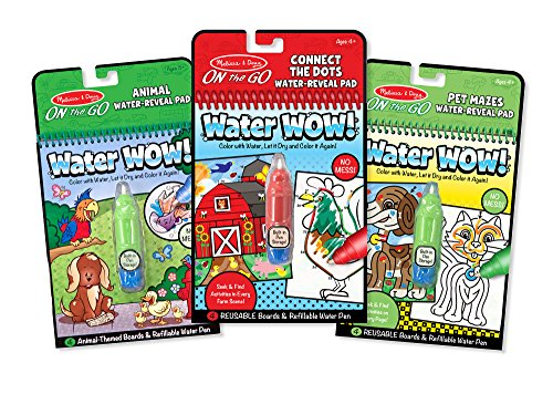 Melissa & Doug On the Go Water Wow! Water-Reveal Activity Pads Set - Animal, Connect the Dots, Pet Mazes (Pets Dot Com)