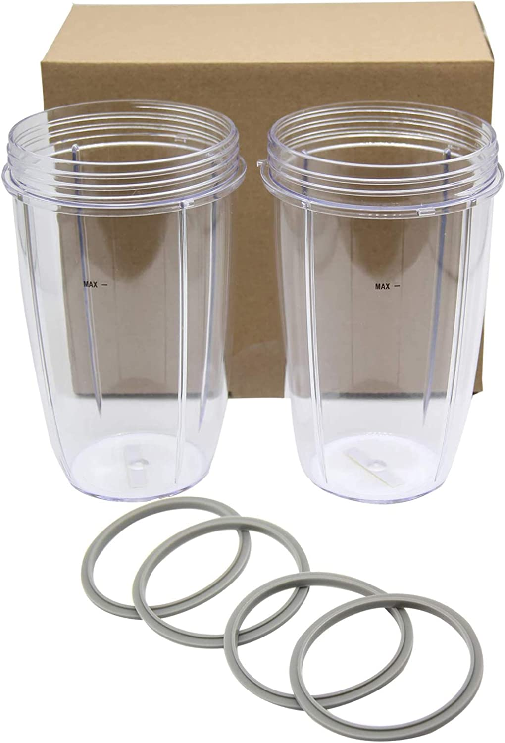 QDJUNE 24OZ Replacement Cup Pack of 2, and Blender Rubber Pack of 4, Replacement Parts 24oz Replacement for Nutri 600w 900w Blender Mixer Replacement Parts