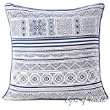 Eyes of India - 16'' Indigo Blue Cream Hmong Printed Couch Pillow Cover Cushion Colorful Throw Sofa Indian Bohemian BohoCover Only