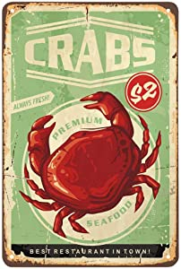 AOYEGO Seafood Crabs Tin Sign,Delicious Fresh Crabs Best Restaurant in Town Vintage Metal Tin Signs for Cafes Bars Pubs Shop Wall Decorative Funny Retro Signs for Men Women 8x12 Inch