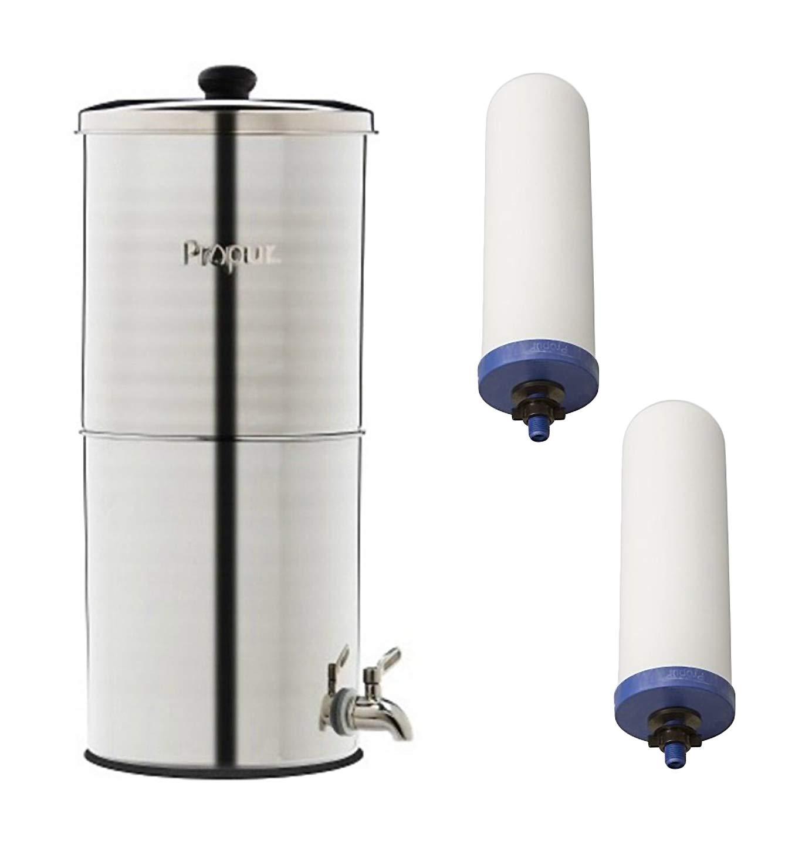 ProPur Großer Edelstahl-Wasserreinigungsbehälter + 2 ProOne G 2.0 17,8 cm Filterelemente für die Entfernung von Chemikalien und Fluorid
