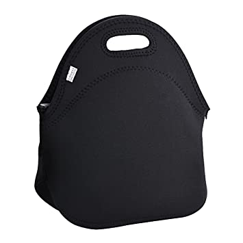 Neoprene Insulated Picnic Lunch Box Tote Food Container Lunch Hand Bag Black