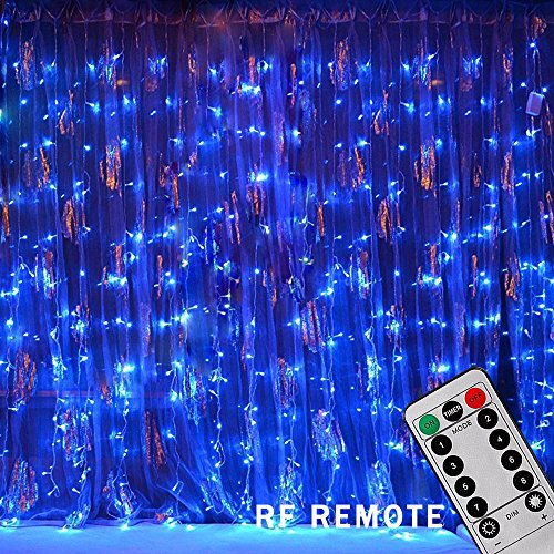 Bjour 300 LEDs Curtain Icicle Lights Christmas String Fairy Light Low-Voltage with 8 Lighting Modes RF Controller, Blue