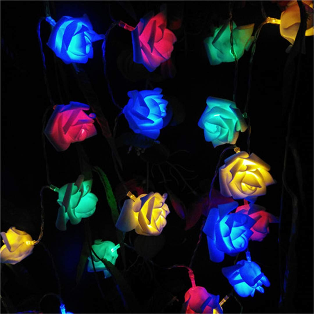 BGFHDSD Lover's Day Battery Holiday Date 50 Roses LED String Lights Ferias Rosa Garland 5M Luzes Corda Bateria Events Party Light RGB