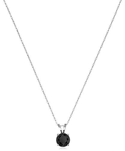 Amazon 14k white gold black diamond solitaire pendant amazon 14k white gold black diamond solitaire pendant necklace 1 cttw jewelry mozeypictures Images