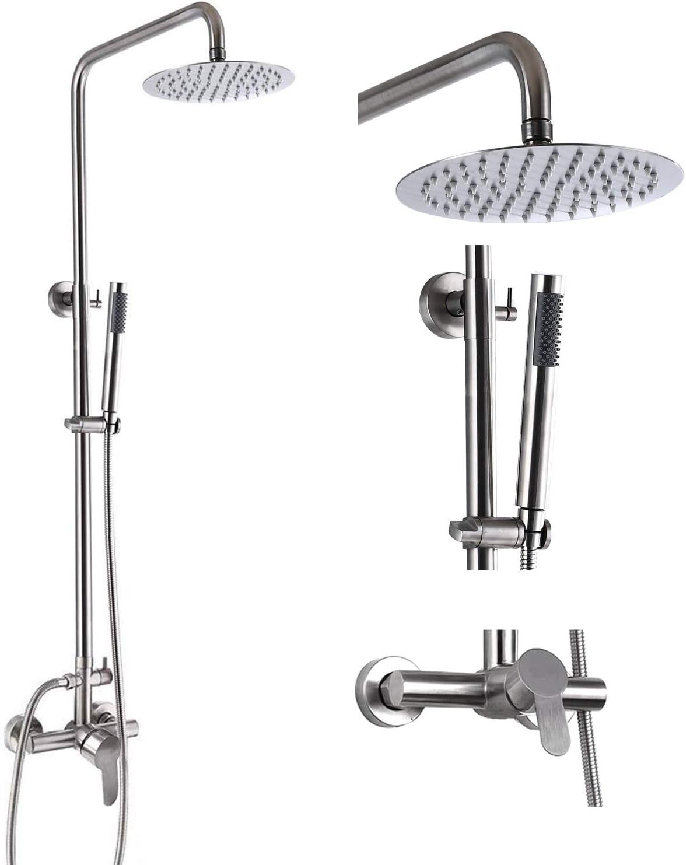 Outdoor Shower Faucet Fixture System Combo Set SUS304 Rainfall