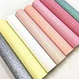 ZAIONE 8 pcs A4 (8'' x 12'') Sheets ColorfulPastel Fine Glitter Vinyl Fabric Sparkle Leather Material Crafts Bow Decor Plain For Shoes Bag Sewing Patchwork DIY Craft Applique (Fine Glitter-Pastel)