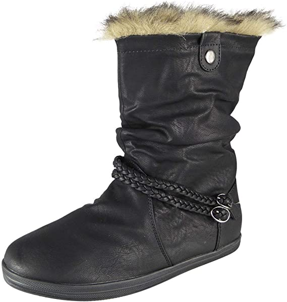 Womens Pixie Mid Calf Rouched Flat Pull On Ladies Slouch Winter New Boots Sizes