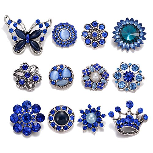 Soleebee 12pcs Alloy Rhinestones Same Color Snap Buttons Jewelry Charms (Dark blue) (Snap Rhinestone)