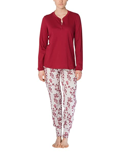 Calida Natalie, Conjuntos de Pijama para Mujer, Rojo (Ruby Wine 168),