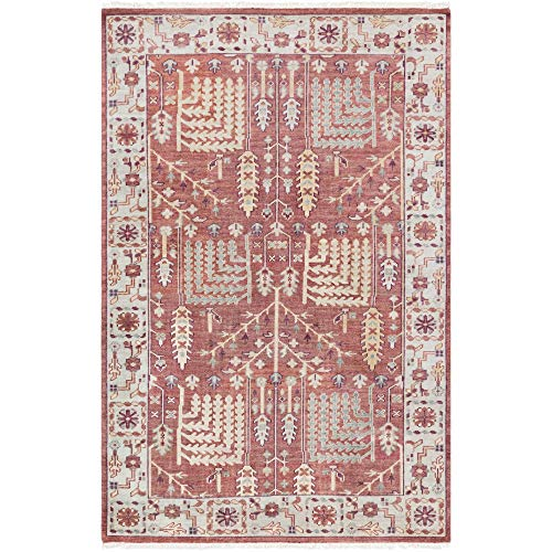 (Tiwari Home 6' x 9' Floral Design Red and Brown Rectangular Area Throw Rug)