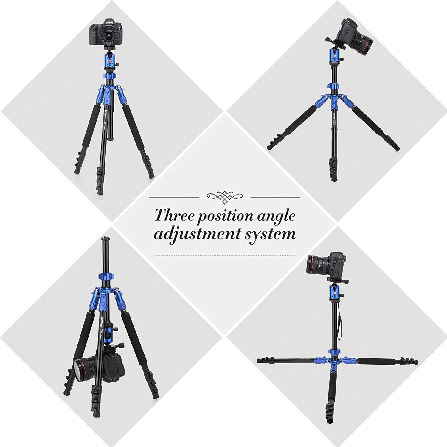 Zomei Camera Tripod ZOMEi 63 Inch Aluminum Compact Tripod with Ball Head Quick Release Plate DSLR Tripod Monopod for Camera Canon Nikon Sony DSLR DV Blue