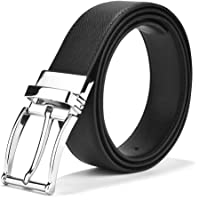 LUCHENGYI Men's Leather Belt with Single Prong Buckle - Removable & Adjustable Belt Gift Box