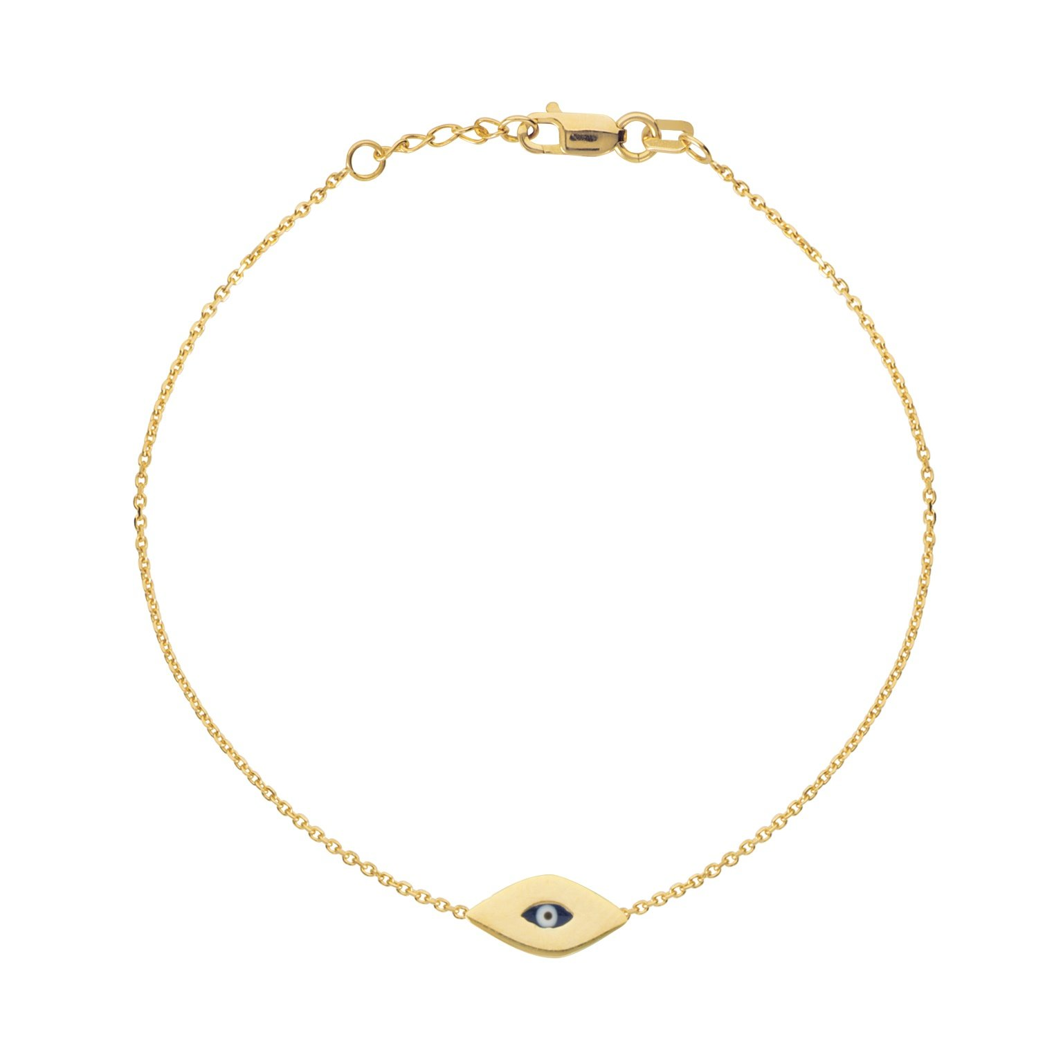 Ritastephens 14k Solid Yellow Gold Mini Evil Eye Good Luck Charm Bracelet Adjustable 7-7.5 Inches