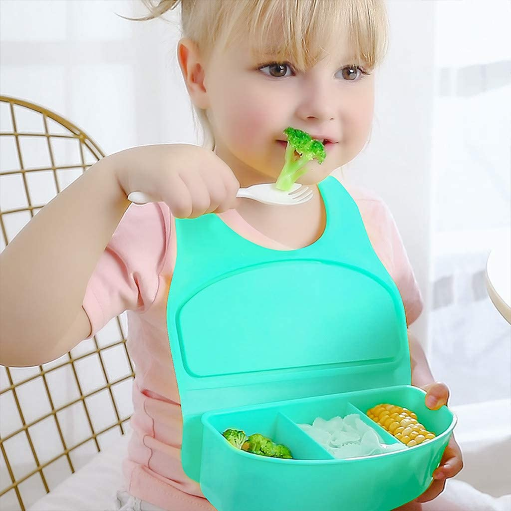 Uplord Childrens Lunch Box Multi-Purpose Bib for Children from 6 Months to 6 Years Old,Ultimate Silicone Baby Bib