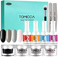 TOMICCA Dipping Powder Starter Kit With 4 Elegant Color,Top & Base Coat And Activator Include | Dark series