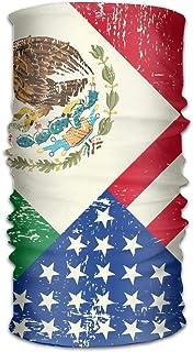 Unisex Stylish Mexico Mexican USA America Flag Quick Dry Microfiber Headwear Outdoor Magic Bandana As Neck Gaiter Head Wrap Headband Scarf Face Mask Ultra Soft Elastic One Size